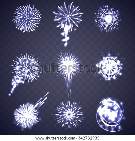 Festive blue Firework Salute Burst on Transparent Background - stock vector
