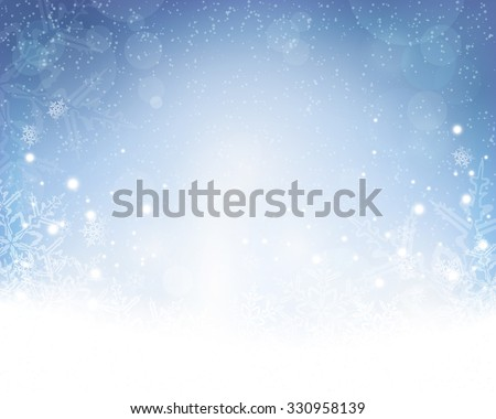 Festive blue white background with stars, snowflakes, out of of focus light dots and light effects which give it a festive and dreamy feeling. Copy space. - stock vector