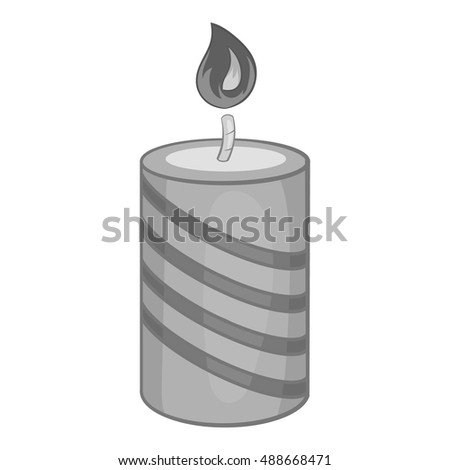 Festive candle icon in black monochrome style isolated on white background. Holiday symbol vector illustration