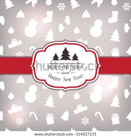 Festive card template with symbols Christmas - stock vector