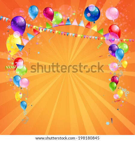 Festive card with balloons. Holiday background with place for text. - stock vector