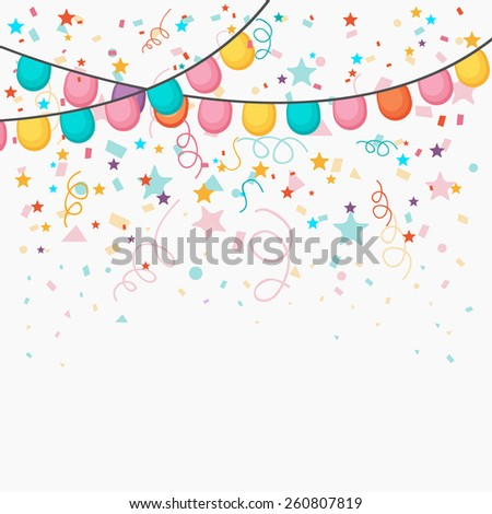 Festive celebration background with colorful balloons and confetti decoration. - stock vector