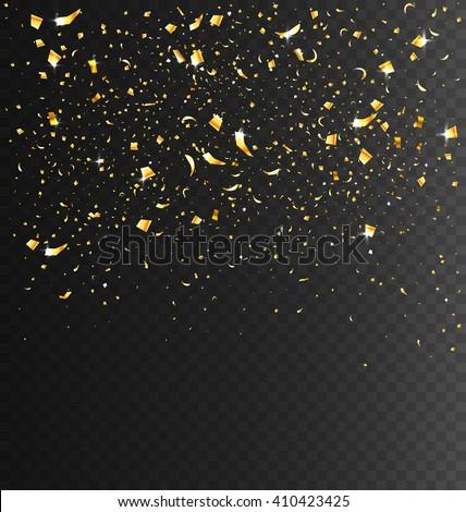 Festive Celebration Golden Confetti on Transparent Dark Background - stock vector
