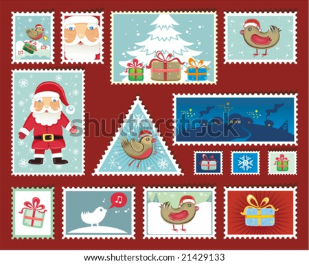 Festive Christmas and New Year Stamps