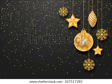 Festive Christmas Background with Golden Christmas Decorations and Golden Glitters. Vector Stock Illustration.
