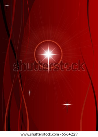 Festive Christmas Background with Shining point lights, swirls and snowflakes on a red fading background - stock vector
