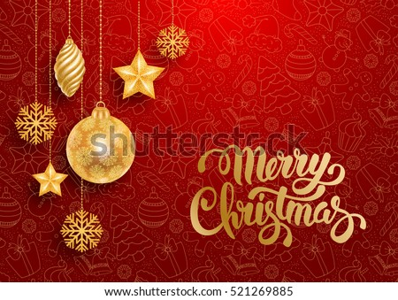 Festive Christmas Luxury Design with Golden Christmas Decorations and Seamless Pattern on Red Background. Vector Illustration.