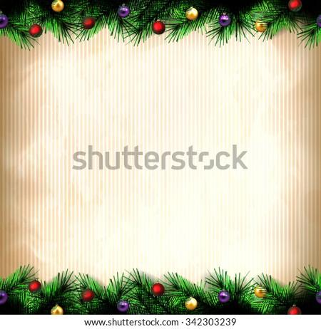 festive Christmas tree. vector border. - stock vector