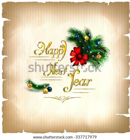 festive Christmas tree. vector border. happy new year card   - stock vector