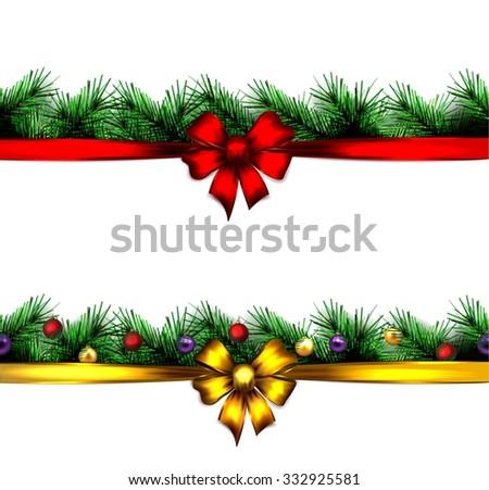 festive Christmas tree. vector.  seamless border.  - stock vector