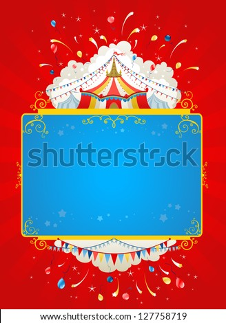 Festive circus tent poster - stock vector