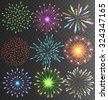 Festive Colorful Bright Firework Salute Burst on Transparent Background - stock vector