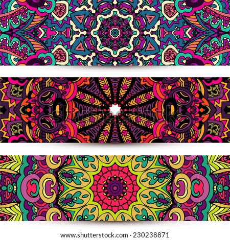 Festive colorful ornamental vector ethnic banner set - stock vector