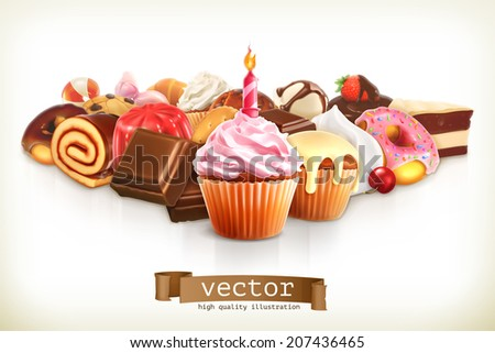 Festive cupcake with candle, confectionery vector illustration - stock vector