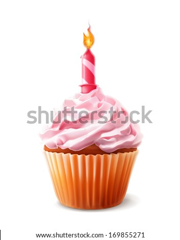 Festive cupcake with candle, detailed vector - stock vector