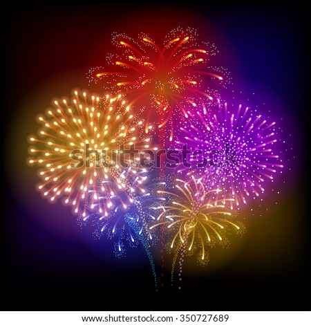 Festive firework bursting in various shapes and colors sparkling against black background. Abstract vector illustration. - stock vector