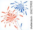 Festive firework in honor of Independence day. Vector Illustration. - stock photo