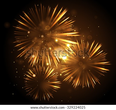 Festive Fireworks. Celebrating Christmas/New Year/National Holidays Concept. Vector Illustration. - stock vector