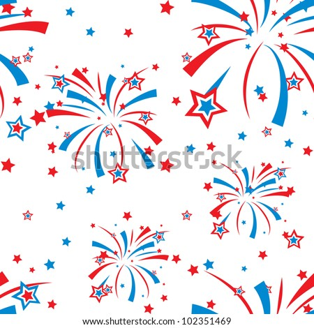Festive fireworks display seamless background - stock vector