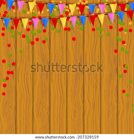 Festive flags and confetti on a wooden background. Vector illustration. - stock vector