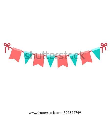 Festive flags garland.Colorful holiday decoration. Vector element isolated on white. - stock vector