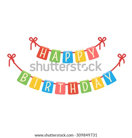 Festive Flags Garland Birthday Party Colorful Stock Vector 2018