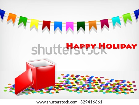 Festive flags with gift box on gray background