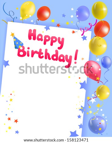festive frame with happy birthday. vector illustration - stock vector
