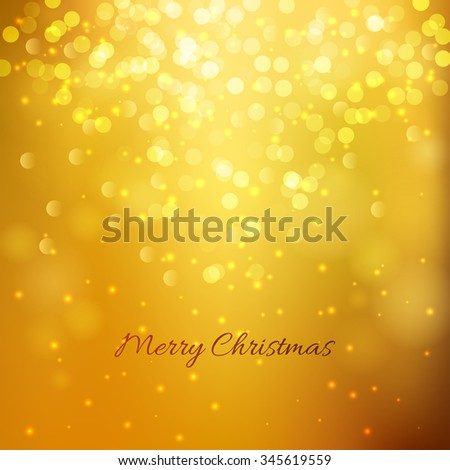 Festive gold background with light bokeh and stars. Christmas and New Year festive background. Vector illustration