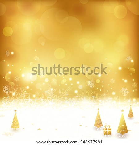 Festive gold background with out of focus light dots, stars, snowflakes, Christmas trees and gift. Light effects give it a festive and dreamy feeling. - stock vector