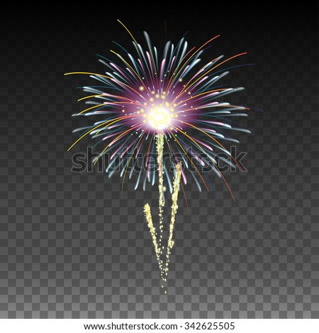 Festive Golden Firework on Transparent Background , purple color in the center - stock vector