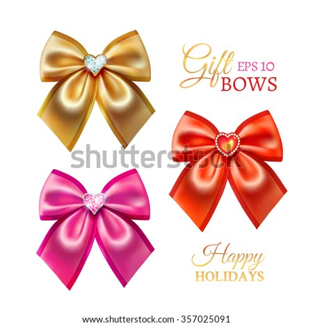 Festive golden, pink and red realistic vector bows with diamond brooches in heart shape for decorate Valentines Day gift isolated on the white background - stock vector