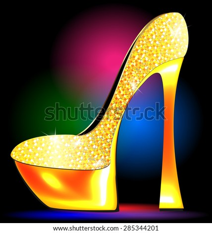festive golden shoe - stock vector