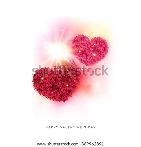 Festive Happy Valentines day card design with colorful pink and red floral hearts under a dynamic sunburst of sparkling rays of light on a white background. Vector illustration. - stock vector