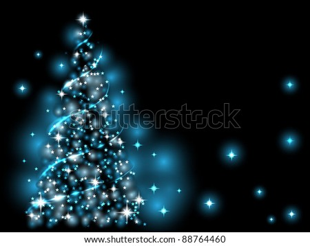Festive light - blue Xmas tree - stock vector
