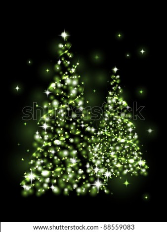 Festive light - green Xmas tree - stock vector