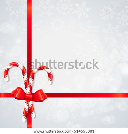 Festive Merry Christmas and happy new year layout background with striped candy cane, snowflake, ribbon. Beautiful design frame for invitation, banner, poster, party flyer, menu, greeting card. Xmas.