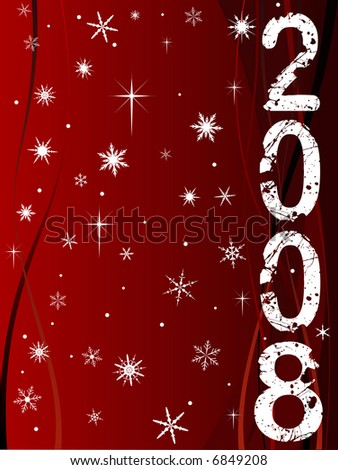 Festive New Year Background with Shining point lights, swirls and snowflakes on a red fading background with Text - stock vector