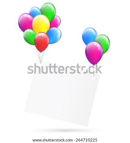 Festive paper frame hang on inflatable bright air balls isolated on white background - stock vector