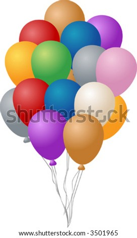 Festive party balloons, inflated and hanging by string,  illustration