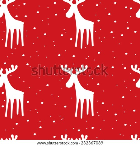 Festive pattern with Reindeer. Christmas and New Year background. - stock vector
