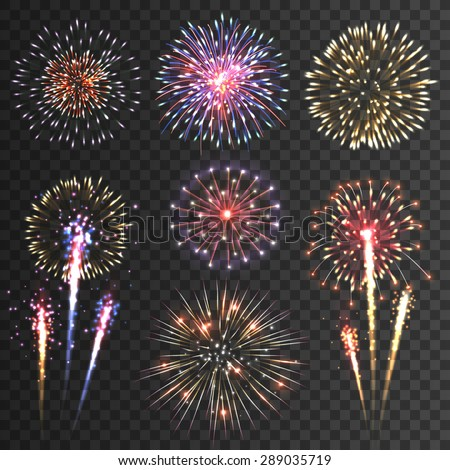 Festive patterned firework  bursting  in various shapes sparkling pictograms set  against black background abstract vector isolated illustration - stock vector