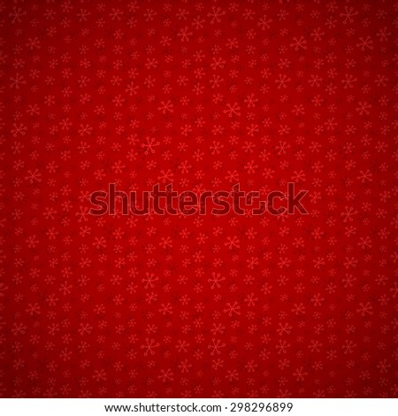 Festive red background with seamless pattern with snowflakes and light vignette  - stock vector