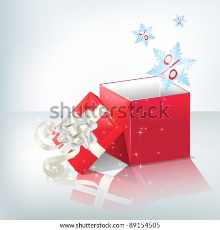 Festive red box with light silver bow.