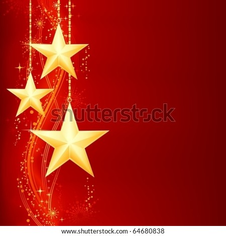 Festive red golden Christmas background with golden stars, snow flakes and grunge elements. - stock vector