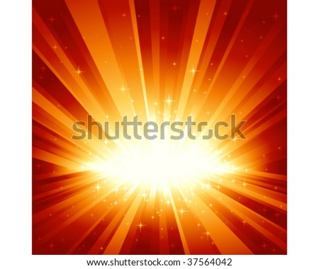 Festive red golden light burst and stars with centre in lower third of the square image. 7 global colors, background controlled by 1 linear gradient. Artwork grouped and layered. - stock vector