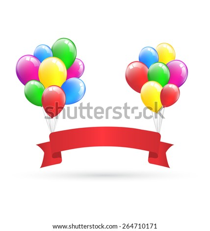 Festive red ribbon hangs on inflatable bright air balls isolated on white background - stock vector