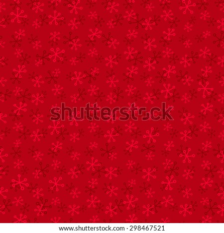 Festive red seamless pattern with snowflakes - stock vector