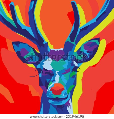 Festive Reindeer made out of cool blue and purple Geometric shapes on a Red, orange and lime green background - stock vector