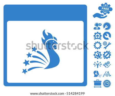 Festive Rooster Calendar Page pictograph with bonus tools graphic icons. Vector illustration style is flat iconic symbols, cobalt, white background.